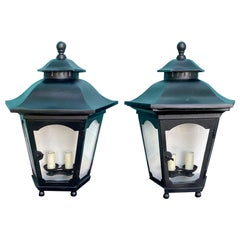 Pair of 20th Century Iron Two-Arm Wall Mount Lanterns with Ball Feet and Finials