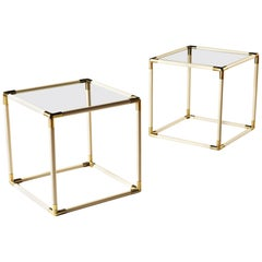 Pair of 20th Century Italian Bakelite, Brass and Glass Cube Tables