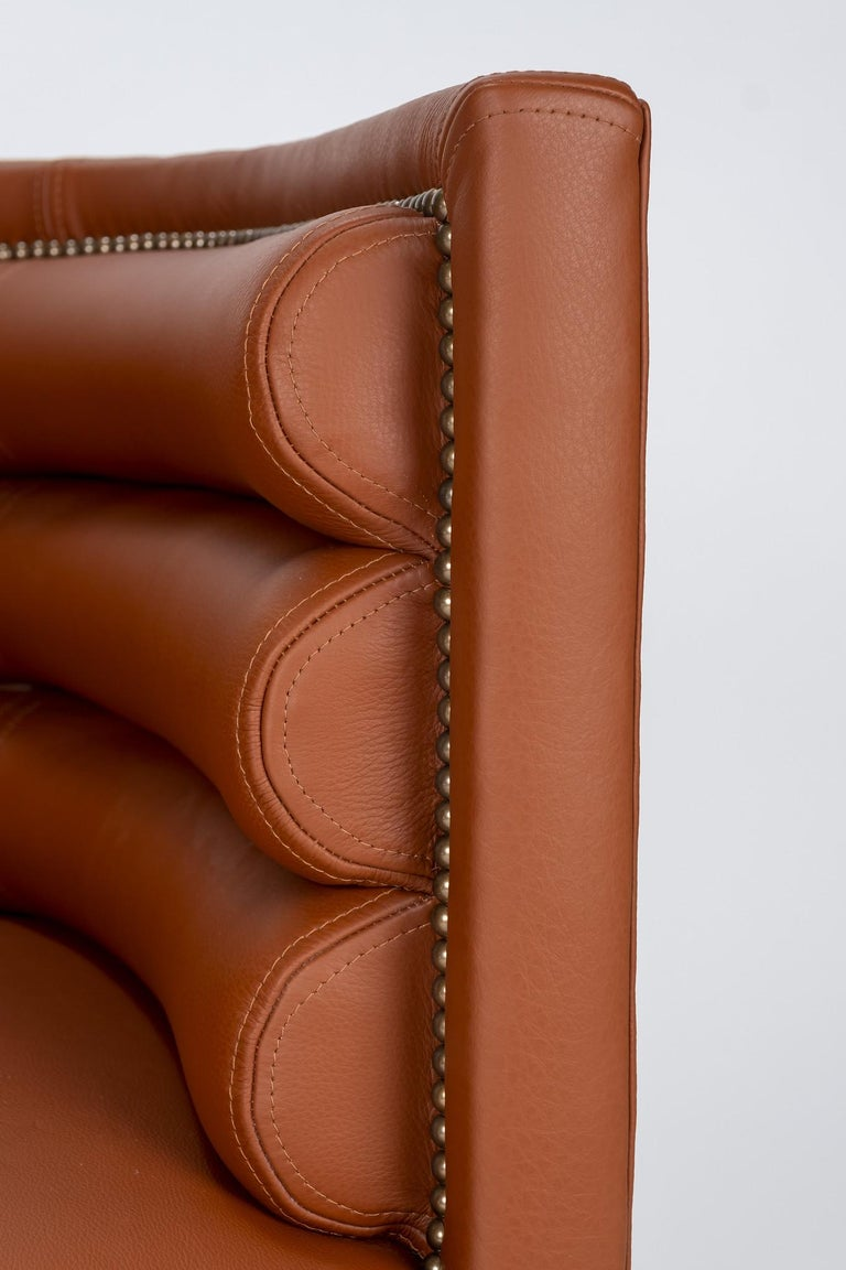 Pair of 20th Century Italian Barrel Back Chairs in Cognac Leather For Sale 6