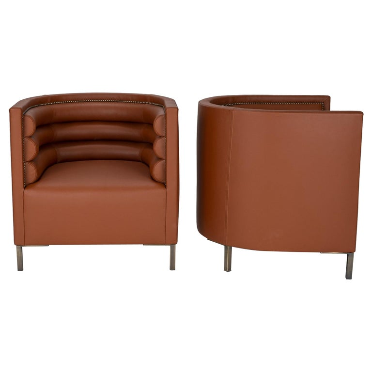 Pair of 20th Century Italian Barrel Back Chairs in Cognac Leather For Sale