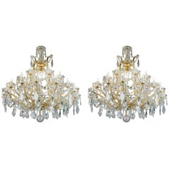 Pair of 20th Century Italian Crystal Chandeliers Maria Therese Style Two-Tier