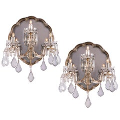 20th Century Italian Pair of Crystal Sconces Mirrored Maria Therese Wall Lights