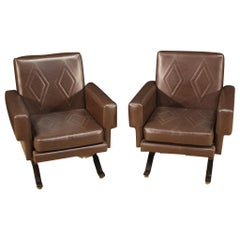 Pair of 20th Century Italian Design Faux Leather Armchairs, 1970