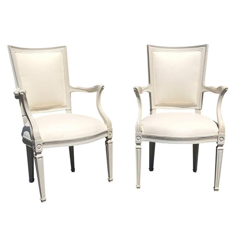 Pair of 20th Century Italian Directoire Style Painted Armchairs