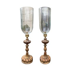 Pair of 20th Century Italian Giltwood Candlesticks with Hand Blown Photophores