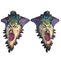 Italian Pair of 20th Century Majolica Grotesque Brackets Renaissance Revival