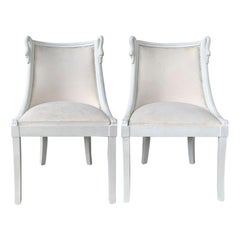 Pair of 20th Century Italian Neoclassical Gondola Painted Chairs with Swan Motif
