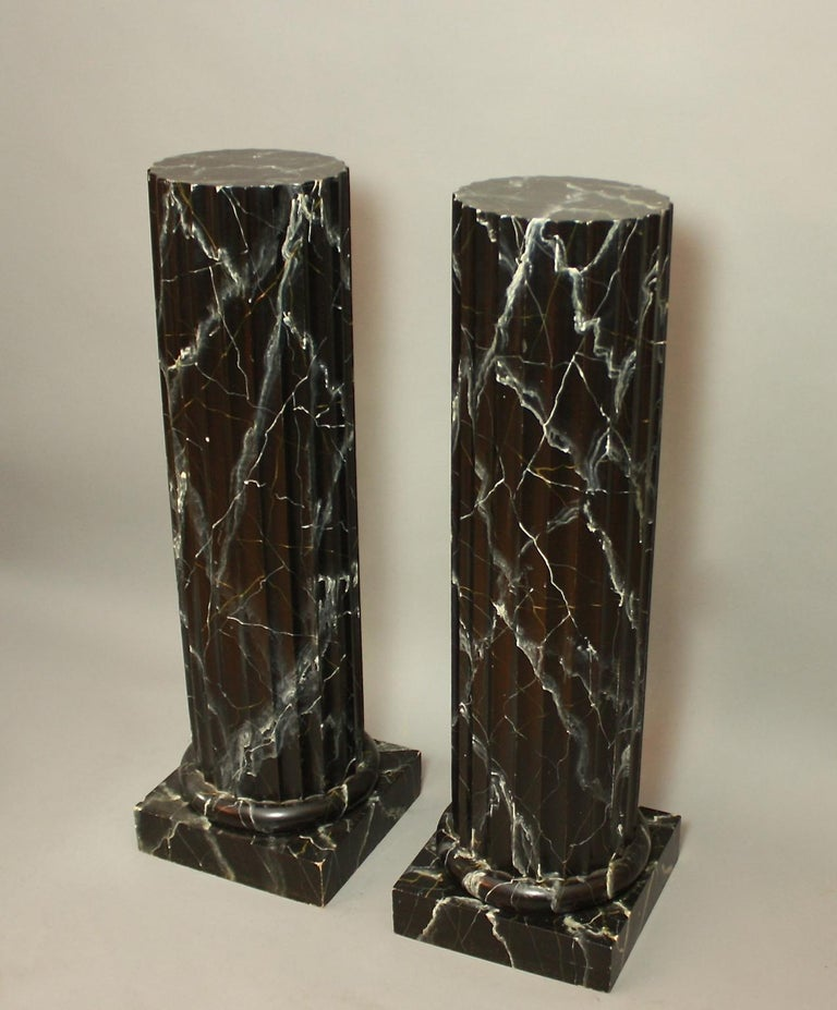 Empire Pair of 20th Century Italian Painted Black Faux Marble Columns or Pedestals For Sale