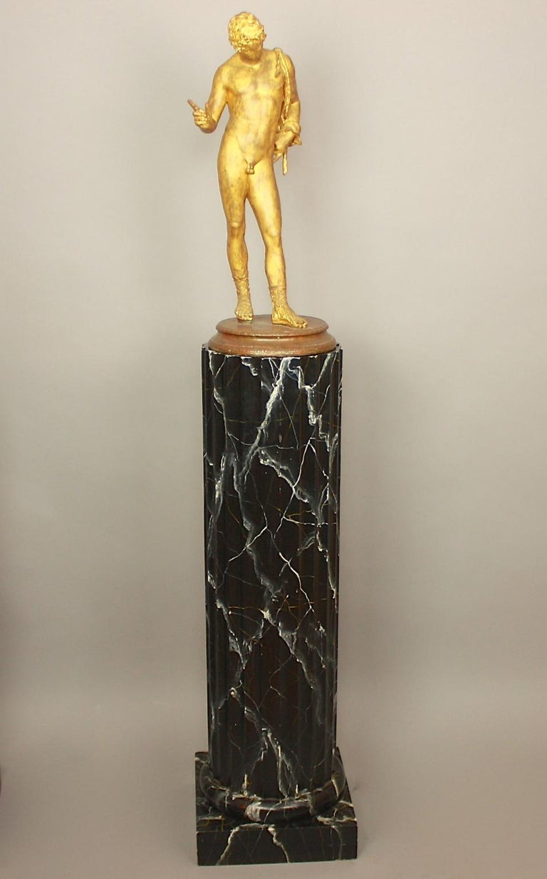 Wood Pair of 20th Century Italian Painted Black Faux Marble Columns or Pedestals For Sale