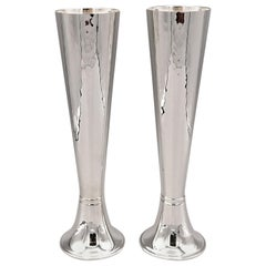 Pair of 20th Century Italian Sterling Silver Champagne Flutes-Vases-Candlesticks