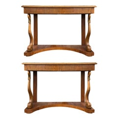 Pair of 19th Century Italian Fruit Wood Consoles with Gilt Brass Trim