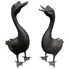 Pair of 20th Century Japanese Brass Geese, Marked 'Japan'