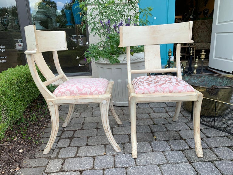 Wood Pair of 20th Century Klismos Side Chairs, in the Style of T.H. Robsjohn-Gibbings For Sale