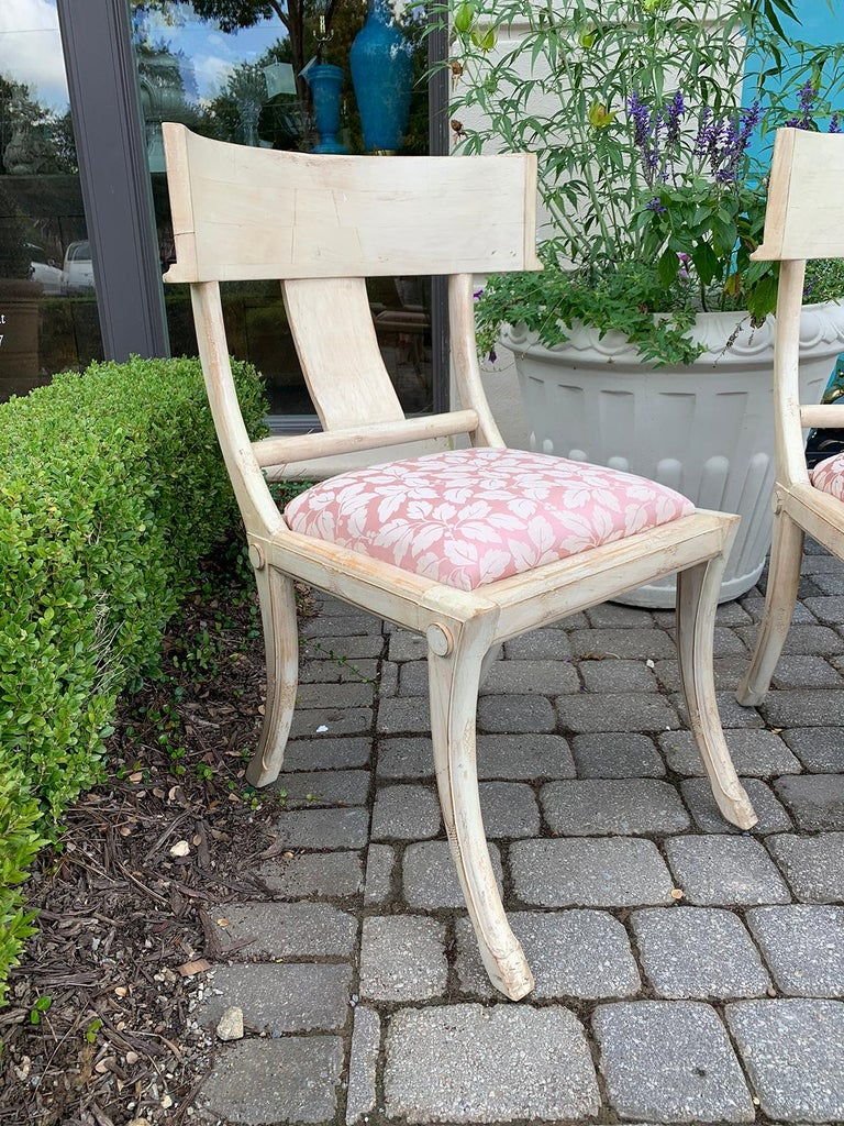 Pair of 20th Century Klismos Side Chairs, in the Style of T.H. Robsjohn-Gibbings For Sale 3