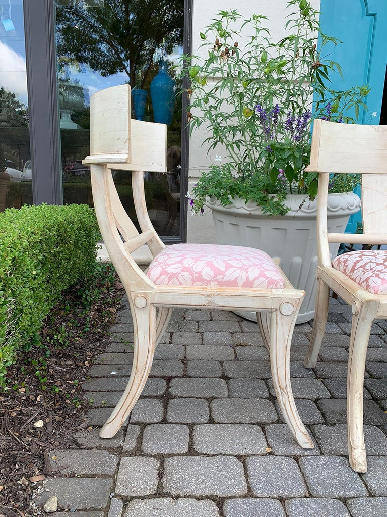 Pair of 20th Century Klismos Side Chairs, in the Style of T.H. Robsjohn-Gibbings For Sale 4