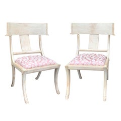 Pair of 20th Century Klismos Side Chairs, in the Style of T.H. Robsjohn-Gibbings
