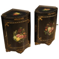 Pair of 20th Century Lacquered and Painted Wood French Corner Cupboards, 1950
