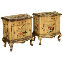 Pair of 20th Century Lacquered and Painted Wood Venetian Bedside Tables, 1950
