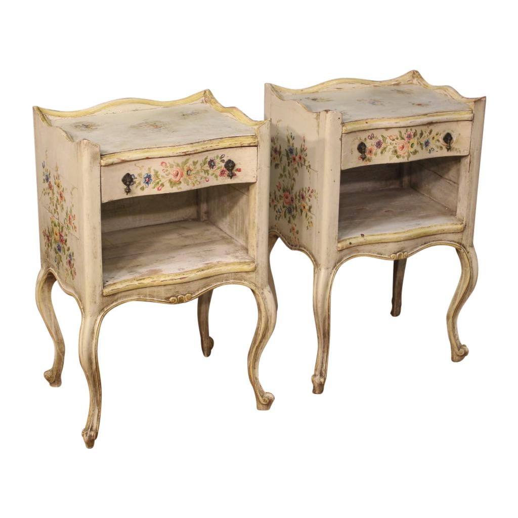 Pair of 20th Century Lacquered and Painted Wood Venetian Bedside Tables, 1960