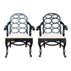Pair of 20th Century Lacquered Loop Armchairs in the Style of Frances Elkins