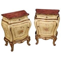 Pair of 20th Century Lacquered Painted and Giltwood Venetian Bedside Tables