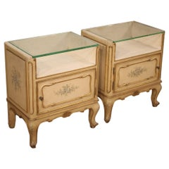 Pair of 20th Century Lacquered Painted Giltwood French Bedside Tables, 1960