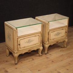 Pair of 20th Century Lacquered Painted Gilt Wood French Bedside Tables, 1960