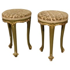 Pair of 20th Century Lacquered, Painted Wood and Velvet Venetian Stools, 1960