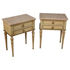 Pair of 20th Century Lacquered Wood Marble Italian Louis XVI Style Night Stands