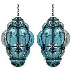 Pair of 20th Century Large Italian Murano Bubble Glass Iron-Bound Lanterns