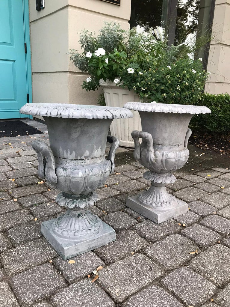 Pair of 20th Century Large Neoclassical Metal Urns For Sale 1