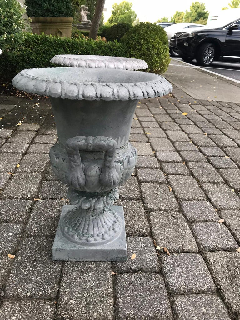 Pair of 20th Century Large Neoclassical Metal Urns For Sale 2