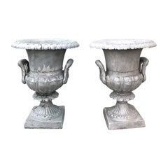 Pair of 20th Century Large Neoclassical Metal Urns