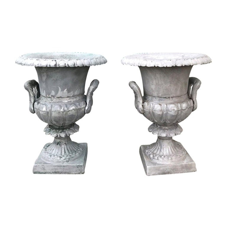 Pair of 20th Century Large Neoclassical Metal Urns For Sale