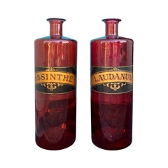 Pair of 20th Century Large Red Glass Apothecary Jars