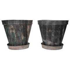 Pair of 20th Century Large Steel Cache Pots with Saucers