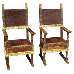Pair of 20th Century Leather and Wood Italian Armchairs, 1950
