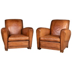 Pair of 20th Century Leather Club Chairs, circa 1930