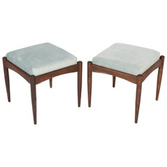 Pair of 20th Century Light Blue Velvet Pattern Stools, 1960s