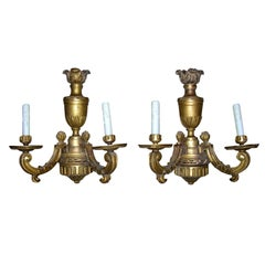 Pair of 20th Century Louis XV Style Continental Giltwood Two-Light Sconces