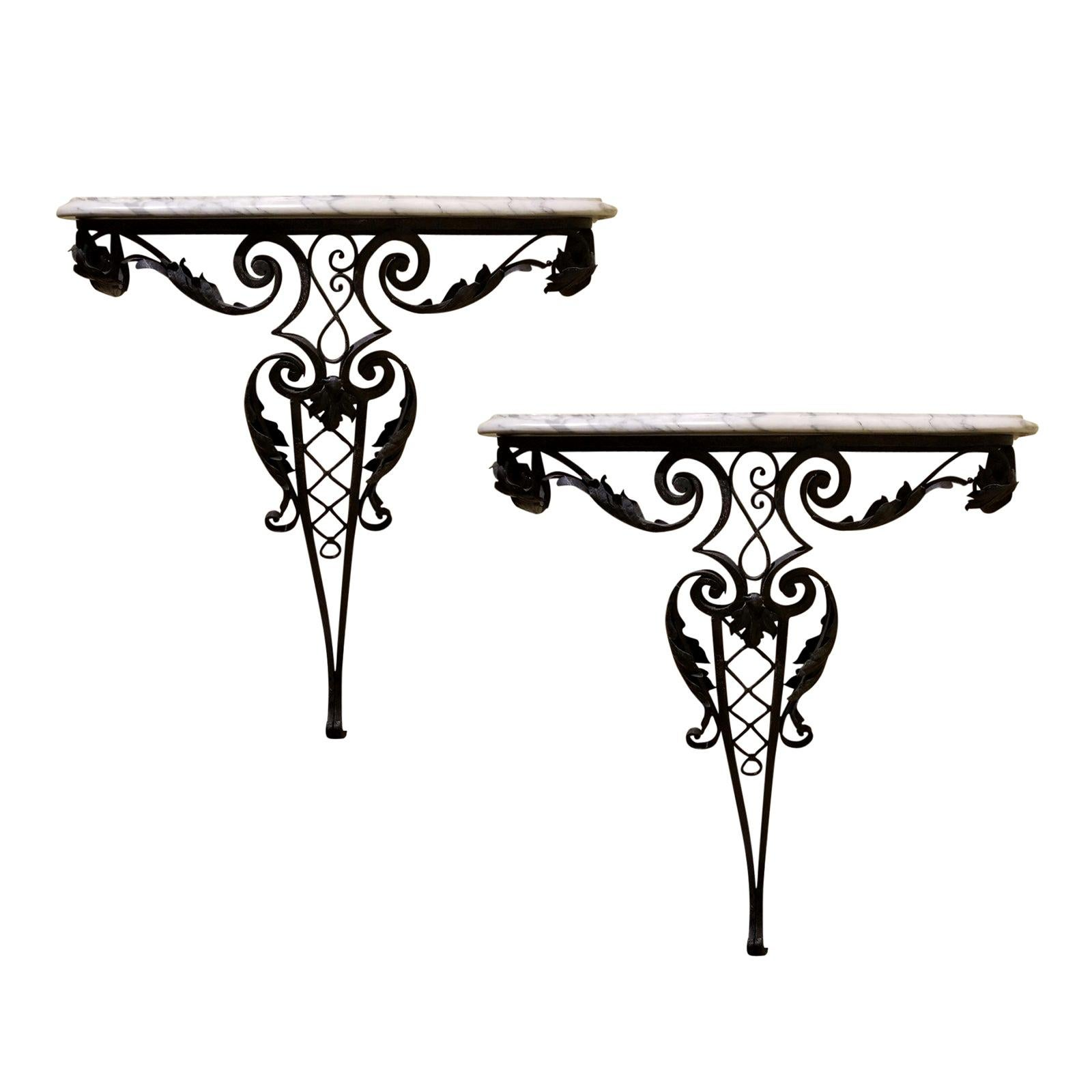 Pair of 20th Century Louis XV Style Iron Wall Mount Consoles, White Marble Tops