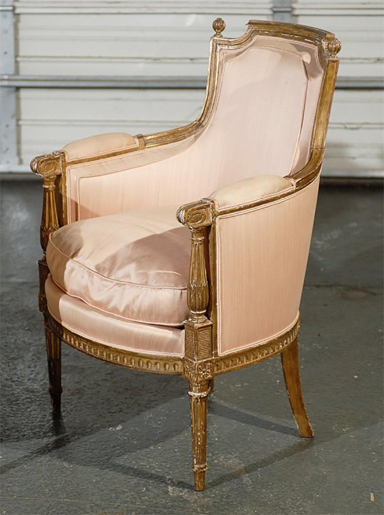 French Pair of 20th Century Louis XVI Style Giltwood Bergère Chairs For Sale