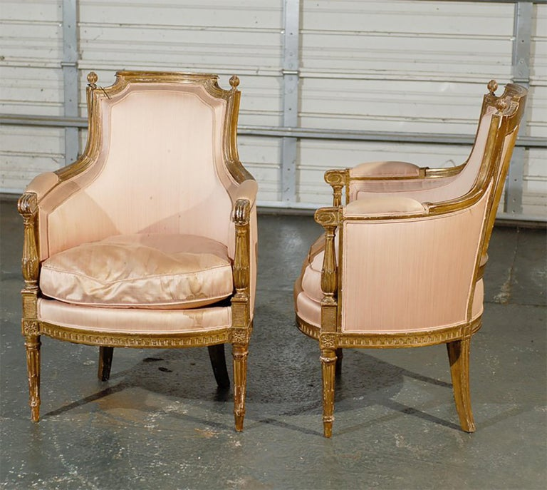 Pair of 20th Century Louis XVI Style Giltwood Bergère Chairs In Good Condition For Sale In Atlanta, GA