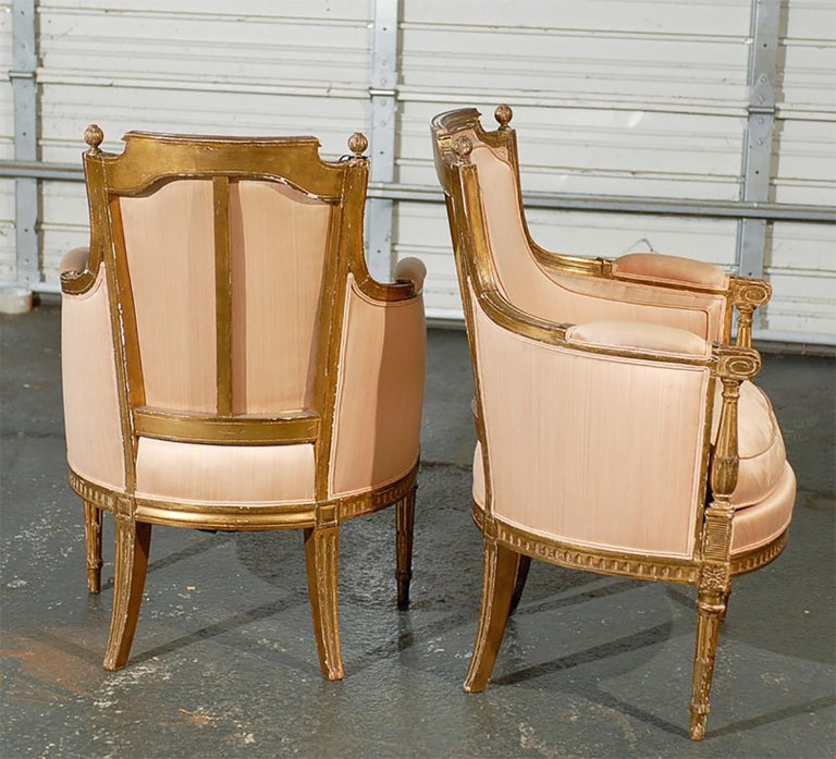 Pair of 20th Century Louis XVI Style Giltwood Bergère Chairs For Sale 2