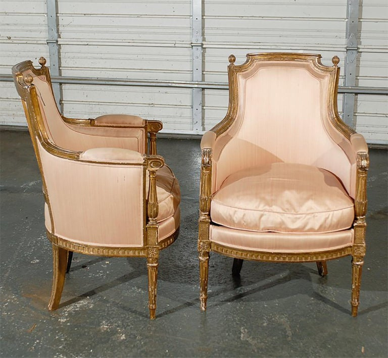 Pair of 20th Century Louis XVI Style Giltwood Bergère Chairs For Sale 3