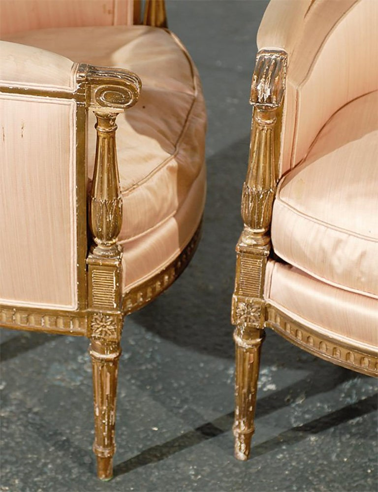 Pair of 20th Century Louis XVI Style Giltwood Bergère Chairs For Sale 4