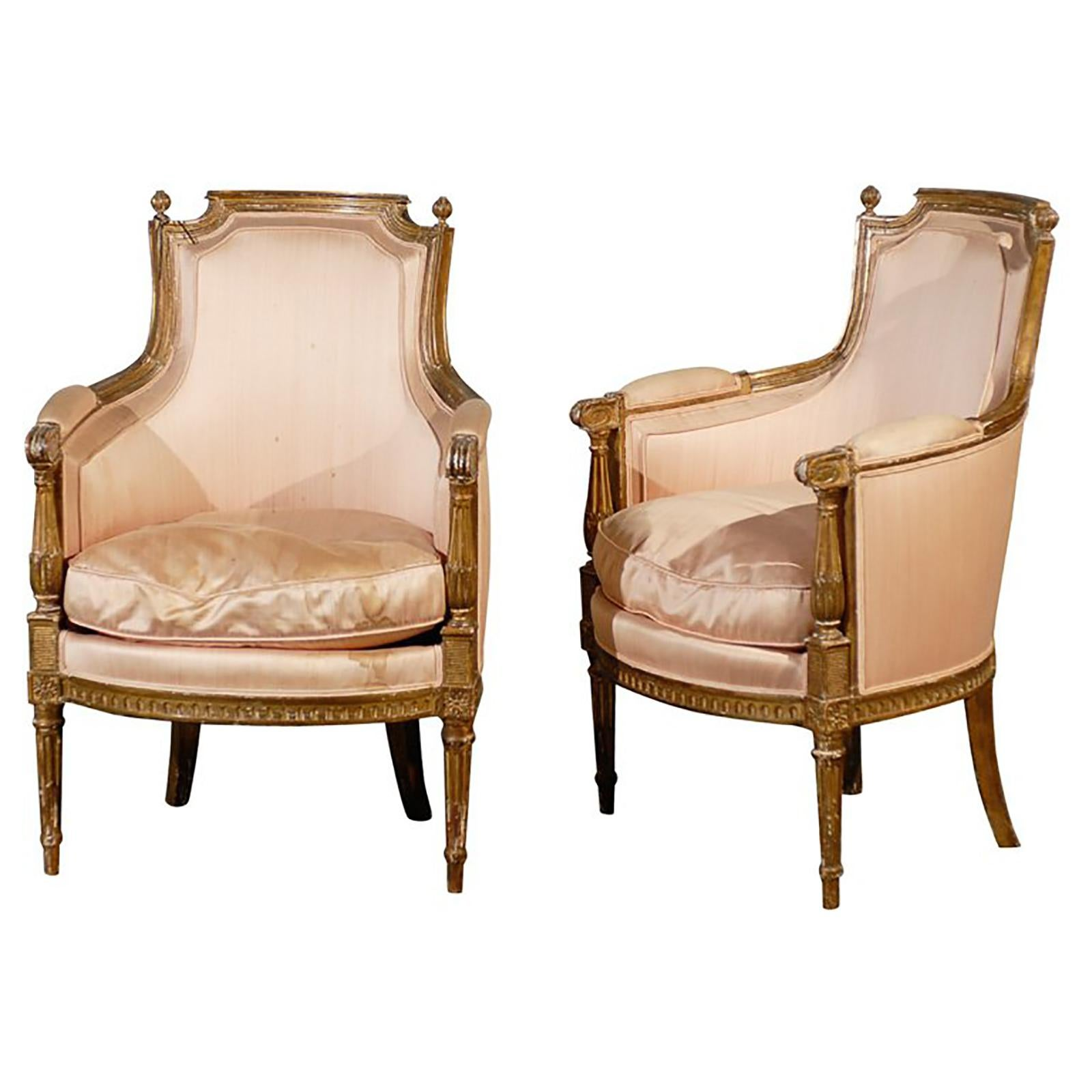Pair of 20th Century Louis XVI Style Giltwood Bergère Chairs