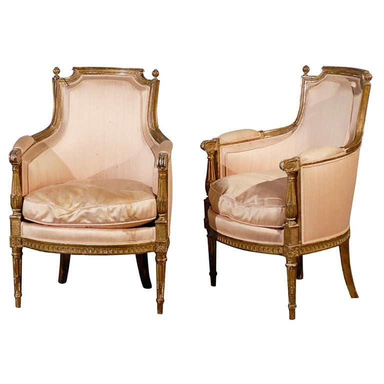Pair of 20th Century Louis XVI Style Giltwood Bergère Chairs For Sale