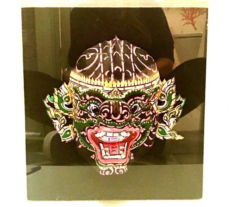 Pair Of 20th Century Lucite Shadow Box Mounted Hand-Painted Tribal Masks For Sale 7