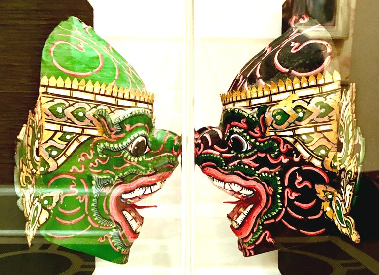 Paper Pair Of 20th Century Lucite Shadow Box Mounted Hand-Painted Tribal Masks For Sale
